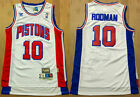 New Men's Detroit Pistons #10 Dennis Rodman Basketball Jersey Mesh White on eBay