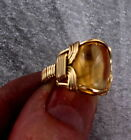 Citrine Gemstone Ring in 14kt Rolled Gold  Wire Wrapped Size 5 to 15