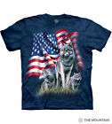 The Mountain Cotton Adult Unisex Wolf Flag T-Shirt Blue Sizes M-L-XL-2XL NWT image