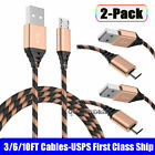 3FT 6FT 10FT Micro USB Fast Charging Sync Data Cable For Samsung Android HTC LG