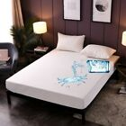 Waterproof Solid Color Mattress Protector Fitted Sheet Single/Double/Queen/King