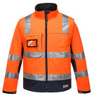 New Polyester Mens High Visibility Softshell Jacket Waterproof - ORANGE NAVY