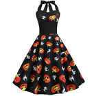 Women's Vintage Halter Halloween Xmas A-Line Evening Party Swing Dress New