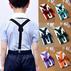 US Adjustable Suspender and Bow Tie Set for Baby Toddler Kids Boys Girls Child