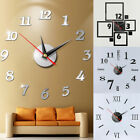 HOT Modern Large Wall Clock 3D Mirror Sticker Unique Big Number Watch DIY Decor