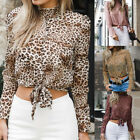 Autumn Women Long Sleeve Stand Neck Short Tops Casual Leopard Printed Shirts New