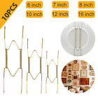 """10pcs Golden Spring Plate Wire Hangers for 6""""-16"""" Plates Display Wall Mounting"""