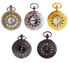 Retro Quartz Pocket Watch Antique Design Steampunk Pendant Chain Necklace image