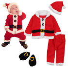 4Pc Baby Boy Girl Christmas Santa Claus Costume Top Pants Hat Outfit Clothes Set