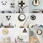 12'' Wall Clock Triangle Round Animal Acrylic Wooden Ultra-quiet Wall DIY Decor