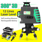 360° 12 Lines Level Self-Leveling Measure 3D Laser Rotary Cross Green/Red