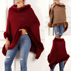 Fashion Womens Turtleneck Poncho Sweater Cape Knit Pullover Solid Sweaters 03