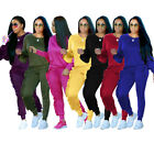 2PCS Women Ruffles Hoodies Tracksuit Tops Pants SportsWear Jogging Sweatshirt