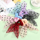 Dots Velvet Mesh Pearls Bow Streamers Hair Ring Scrunchies Horsetail Hair Ties