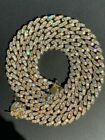 Men's Miami Cuban Link Chain Real 14k Gold Over Stainless Steel Icy Necklace