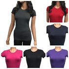 CH Womens Basic Plain T-Shirt Crew Neck Short Sleeve Stretch Cotton Tee S-2XL