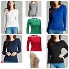 Womens Thermal Long Sleeve Basic Solid Waffle Knit Crew Neck T-Shirt Top Jr. Siz