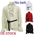 Ruffle Collar Shirt Mens Steampunk Cosplay Costume Gentlemanly Pirate Plus Size