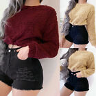 New Women Drawstring Plush Long Sleeve Winter Warm Short Pullover Tops Blouses