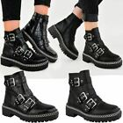 New Womens Low Heel Chunky Ankle Boots Grip Sole Chain Zip Up Punk Buckles Goth