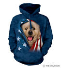 The Mountain 100% Cotton Patriotic Golden Pup Blue Hoodie Adult Size  L & XL NWT