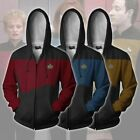Star Trek Voyager Captain Zip Sweatshirt Costume Men Hoodie Jacket Tops Cosplay on eBay