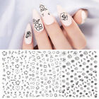 Black Small Flowers Line 3D Nail Stickers Adhesive Paper Nail Art Transfer Decal