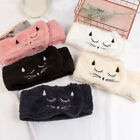 Women Plush Cat Embroidered Elastic Wide Headband Makeup Washing Face Hair Bands
