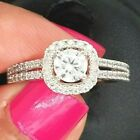 14k White Gold 0.76 CT Round Halo Solitaire Engagement Ring 2.8 g Sizes 5-9