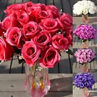 Large Bouquet 24 Heads Fake Rose Faux Silk Flowers Wedding Party Home Decor Usa