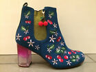 Poetic Licence By Irregular Choice 'Cherry Nice' Teal Embroidered Ankle Boots