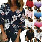 Women's V Neck Mesh Panel Blouse 3/4 Bell Sleeve Blouse Casual Loose Top Shirt