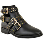 Womens Ladies Flat Ankle Boots Studded Embellished Grunge Smart Buckle Shoes New