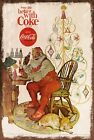 Coca-Cola Father Christmas Advert Vintage Style Metal Sign, Santa List Tree £3.49  on eBay