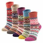 YZKKE 5Pack Womens Vintage Winter Soft Warm Thick Cold Knit Wool Crew Socks, Mul