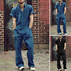 Men One Piece Jumpsuit Pants Short Sleeve Zipper Rompers Workwear Cargo Overalls