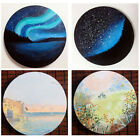 Round Blank Wood Stretched Canvas Panels Board Cotton for Oil Acrylic Painting