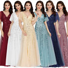 Ever-Pretty Double V-Neck Long Bridesmaid Dresses Cocktail Holiday Prom Gowns US