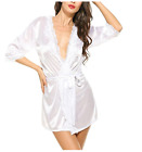 Sexy Lingerie Women Robe Satin Lace Silk Underwear Babydoll Nightdress Sleepwear