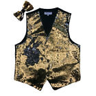 New reversible Men's sequins formal tuxedo vest waistcoat bowtie Gold formal