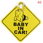 Baby On Board SAFETY Car Window Suction Cup Yellow REFLECTIVE Warning Sign 1 TR