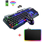 3in1 Wireless Backlit Rechargeable Gaming Keyboard Mouse Set For Game And Office