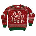 Why is The Carpet All Wet Todd Ugly Christmas Sweater Red
