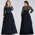 Ever-Pretty US Plus Size Lace Long Sleeve Evening Dresses Elegant Celebrity Gown