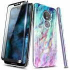 For Motorola Moto g6 Play/Forge Case Slim Soft TPU Marble Cover + Tempered Glass