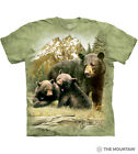 Black Bear Family The Mountain 100% Cotton Adult T-Shirt Sizes S-L-XL-2X-3X NWT image