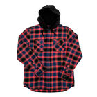 "Vans ""Parkway"" Long Sleeve Flannel Shirt (Dress Blues/Hibiscus) Hooded Button Up"