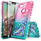 For Google Pixel 3a/3a XL Case Liquid Glitter Bling Phone Cover + Tempered Glass