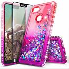 For Google Pixel 3a / 3a XL Case Liquid Glitter Bling Cover + Tempered Glass