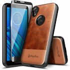 For Motorola Moto e6 Case Shockproof Leather Phone Cover  Tempered Glass